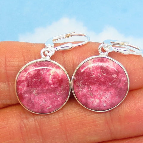 Raspberry Pink Thulite Earrings - 925 Sterling Silver - Leverback Dangle - 17mm Round Discs - Natural Genuine Norway - Pink Zoisite - 281441