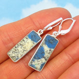 Dainty K2 Azurite Granite Earrings - 925 Sterling Silver Leverback Dangle - Rectangle - Bar - Minimalist - Rare - 281402-r