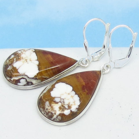 Wild Horse Magnesite Earrings Sterling Silver Leverback Dangle - Pear Shape Teardrop - White Turquoise Crazy Horse Appaloosa Stone 171756