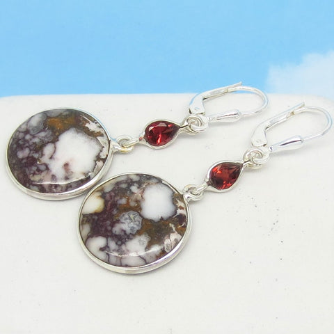 Wild Horse Magnesite Earrings Sterling Silver Leverback Dangle - Round - White Turquoise Crazy Horse Appaloosa Stone - Garnet - 171760