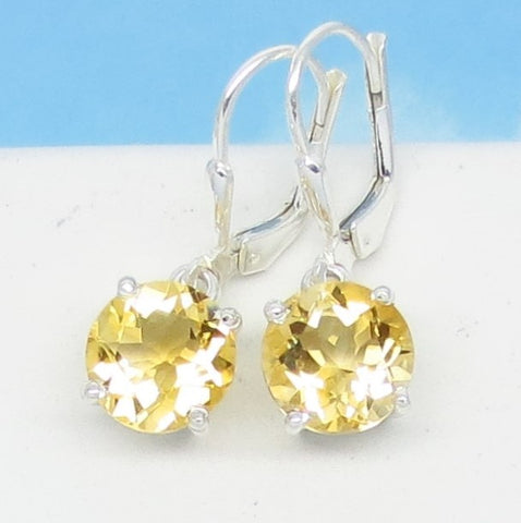 3.66ctw Natural Citrine Earrings - 9mm Round - 925 Sterling Silver Leverback Dangle - Genuine - 172208