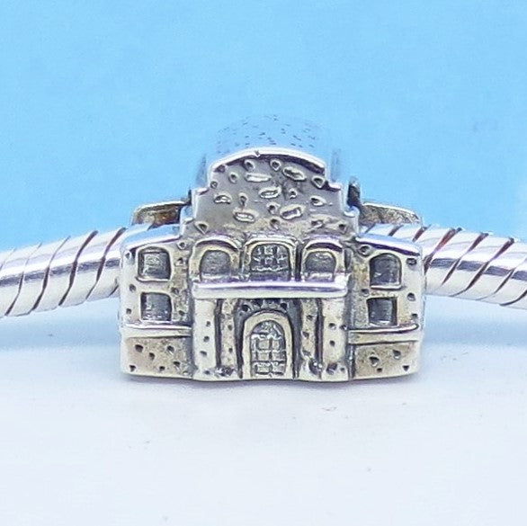 The Alamo Texas Independence 925 Sterling Silver European Charm Bead - Fits Pandora Bracelets - Euro Charm - Hypoallergenic - c280863