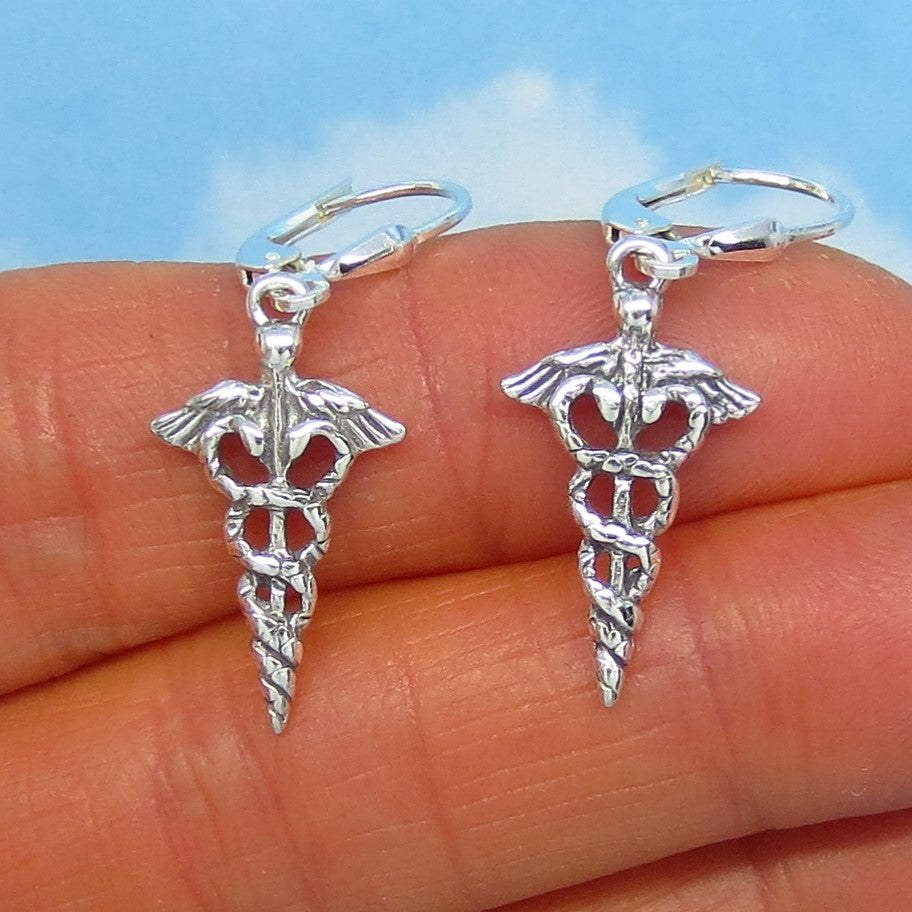 Sterling Silver Caduceus Earrings - Leverback Dangle - Nurse Doctor Medical Assistant Gift - Medical Symbol - su170626
