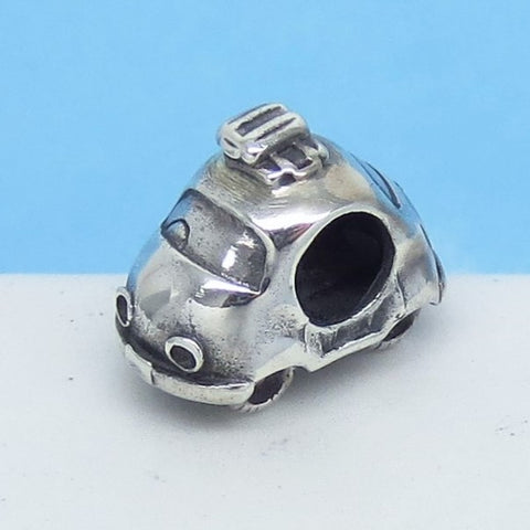 Hippie Small Car 925 Sterling Silver European Charm Bead Fits Pandora Bracelets Euro Charm - Hypoallergenic - Travel - Flower Child c280606