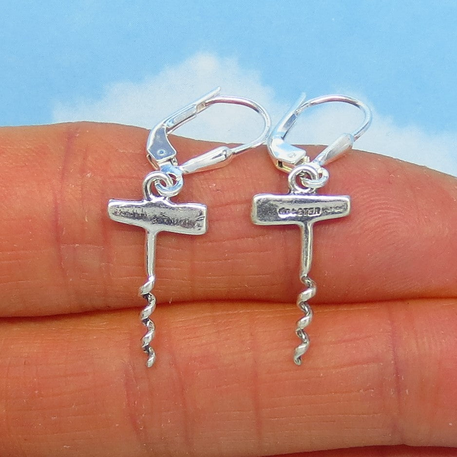 Small Sterling Silver Corkscrew Earrings - Leverback Dangle - Dainty - Lightweight - Wine Earrings - Waitress Chef Cook Earrings - su170486