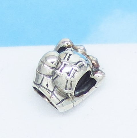 Baseball Mitt Glove 925 Sterling Silver European Charm Bead - Fits Pandora Bracelets - Euro Charm - Hypoallergenic - Ships from USA - 280703