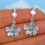 Sterling Silver & Freshwater Pearl Hibiscus Earrings - Leverback - Long Dangle - Tropical Island Beach Hawaii - Flower Earrings - 3D