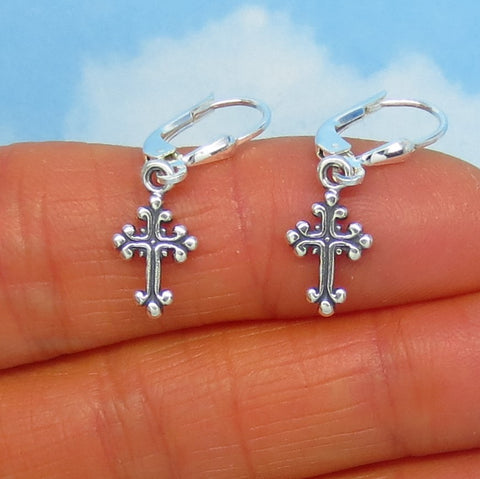 Teeny Tiny Sterling Silver Cross Earrings - Leverback Dangle - Gothic Byzantine Design - Small - Dainty - Delicate - su170501