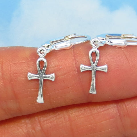 Teeny Tiny Sterling Silver Ankh Cross Earrings - Leverback Dangle - Egypt - Sun Symbol - Small - Dainty - Delicate - su170502