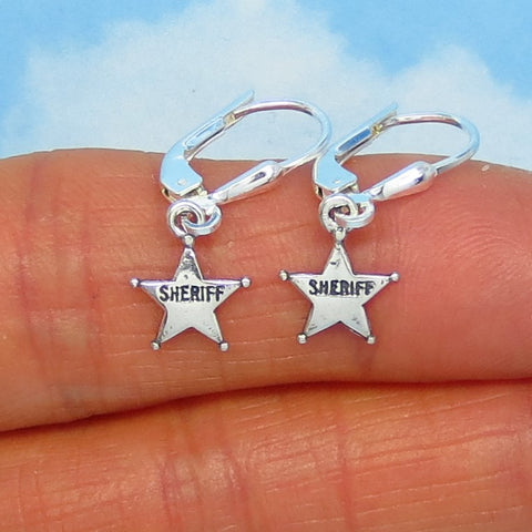 Teeny Tiny Sterling Silver Sheriff Star Earrings - Leverback Dangle - Western - Texas - Small - Dainty - Delicate - su170503