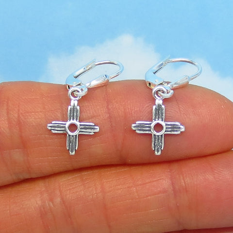 Teeny Tiny Sterling Silver Zia Cross Earrings - Leverback Dangle - Sun Symbol - Taos Earrings - Small Dainty Delicate - Southwest - su170506