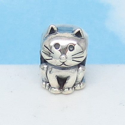 Kitty Cat 925 Sterling Silver European Charm Bead Fits Pandora Bracelets - Euro Charm - Not Threaded - Cute Charms - Ships from USA 280701av
