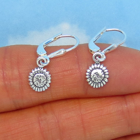 Teeny Tiny Sterling Silver Sunflower Earrings - Leverback Dangle - Flower - Daisy - Small Dainty Delicate - Gardener - su170507