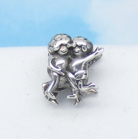 Gemini 925 Sterling Silver European Charm Bead - Fits Pandora Bracelets - Euro Charm - Zodiac Horoscope - Ships from USA - 280646h