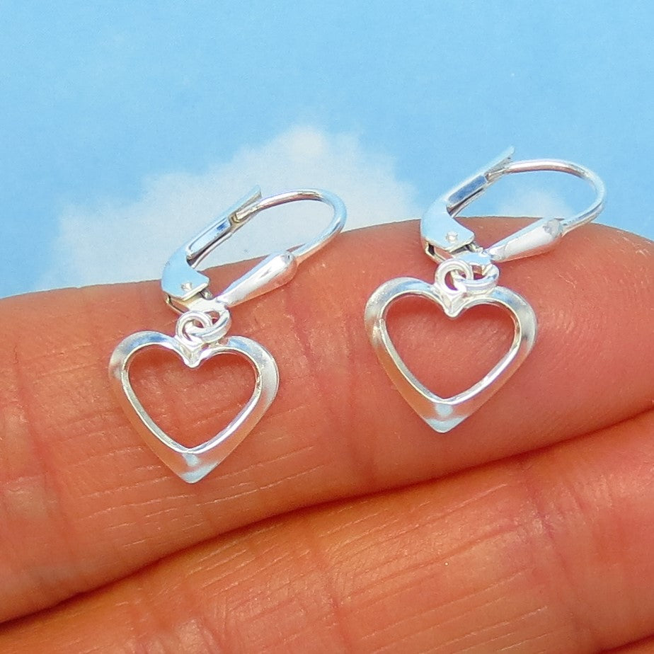 Small Sterling Silver Open Heart Earrings - Leverback Dangle - Dainty - Simple - 170509