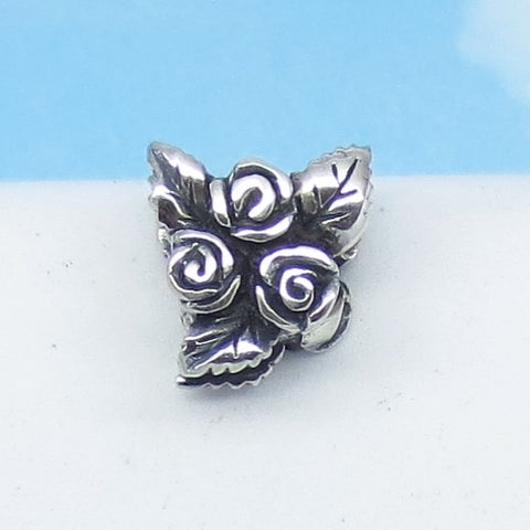 Rose Flower Leaf 925 Sterling Silver European Charm Bead - Fits Pandora Bracelets - Euro Charm - Cute Charms - Ships from USA - 280701r