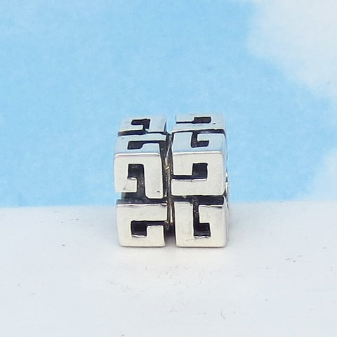Greek Key 925 Sterling Silver European Charm Bead - Fits Pandora Bracelets - Euro Charm - Threaded - Ships from USA - 280708gk