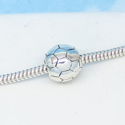 Soccer Ball 925 Sterling Silver European Charm Bead - Fits Pandora Bracelets - Euro Charm - Threaded - Ships from USA - 280703soc