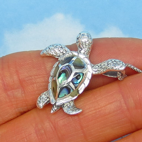 Abalone Sea Turtle Pendant Necklace - Sterling Silver - 1.1mm Italian Box Chain - Paua Shell - Sea Shell - nk3-260963