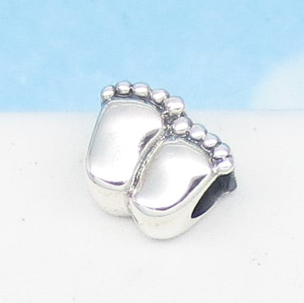 Bare Foot Feet Footprints 925 Sterling Silver European Charm Bead - Fits Pandora Bracelets - Euro Charm - New Baby - Mom & Baby - 280709b