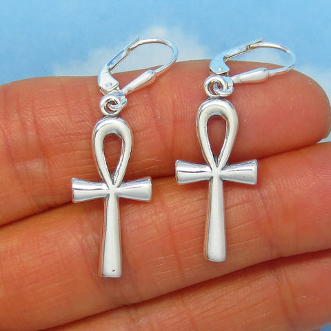 Sterling Silver Ankh Earrings - Leverback Dangle - Egyptian Cross - Sun Symbol - Artisan - AEL-170669