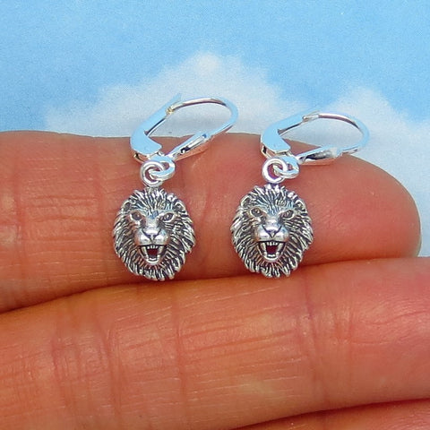 Teeny Tiny Leo Lion Head Earrings - Leverback Dangle - Sterling Silver - 3D -su170489