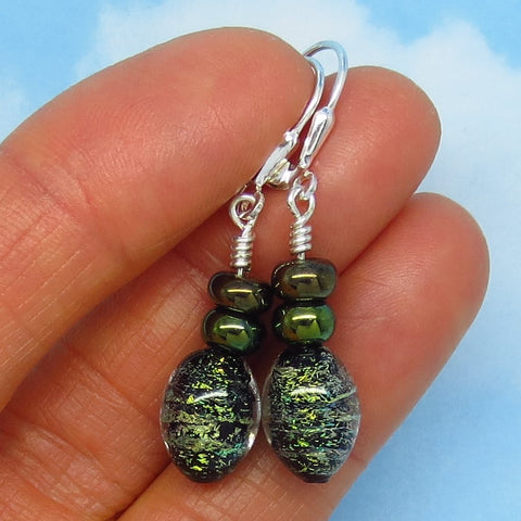 Dichroic Glass Earrings - Sterling Silver - Leverback Dangle - Sage Moss Green Bronze with Black - 260652