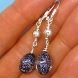 Dichroic Glass Earrings - Sterling Silver - Leverback Long Dangle - Periwinkle Blue Purple Copper Rose Gold with Black - 260756