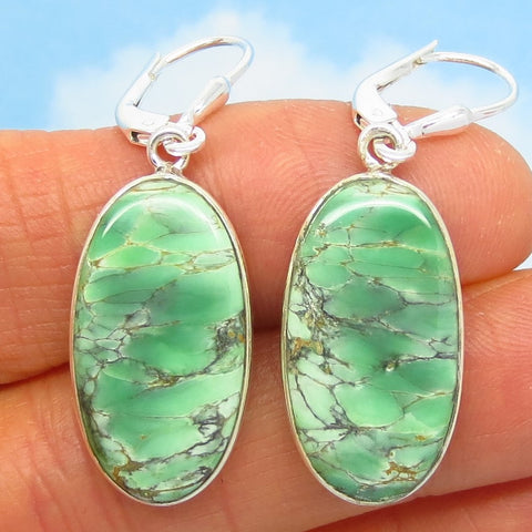 "1-5/8"" Rare Australian Variscite Earrings - 925 Sterling Silver -Leverback Dangle - Natural Genuine - Long Oval - 282241-lo"