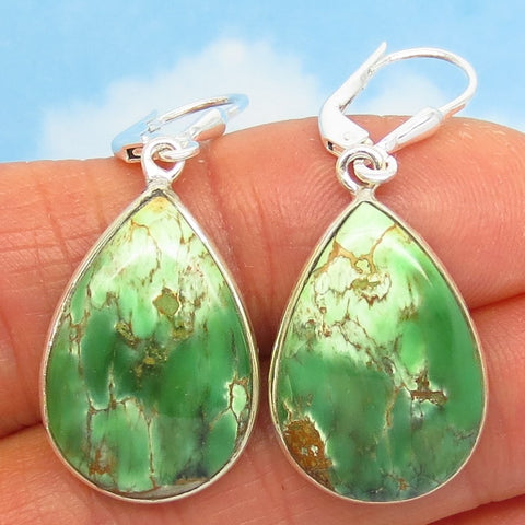 "1-9/16"" Rare Australian Variscite Earrings - 925 Sterling Silver -Leverback Dangle - Natural Genuine - Pear Shape Teardrop - 282474-ps"