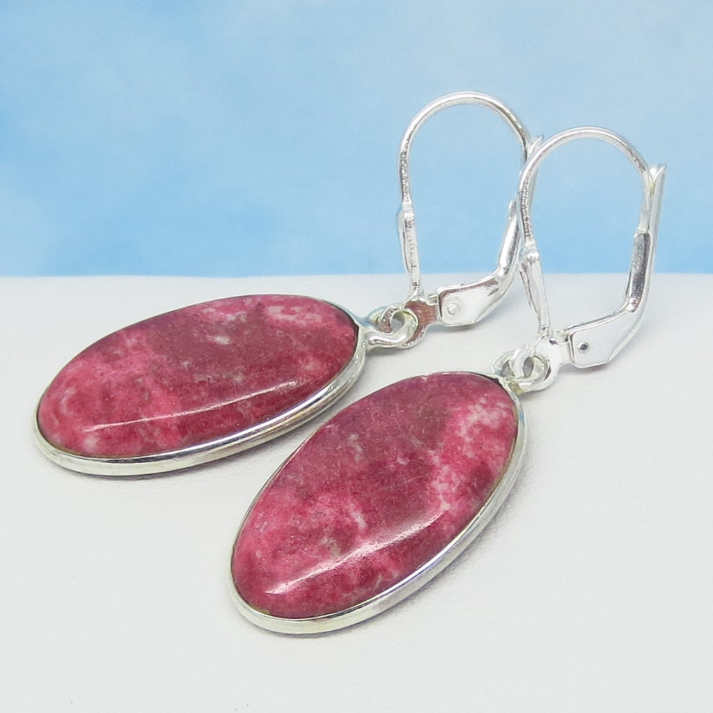 Raspberry Pink & Red Thulite Earrings - 925 Sterling Silver Leverback Dangle - Oval - Natural Genuine Norway Pink Zoisite - 281626-ov