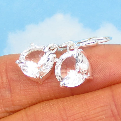 6.6ctw 10mm Natural Rock Crystal Clear Quartz Earrings - 925 Sterling Silver - Concave Cut - Round - Leverback - Dangle - 281803cq
