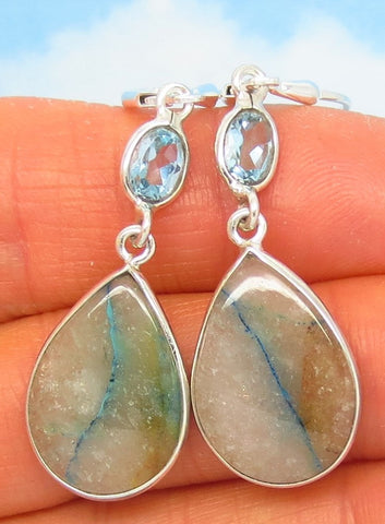 Rare Quantum Quattro Earrings - Leverback Dangle - 925 Sterling Silver - Natural Blue Topaz - Pear Shape Teardrop - 281570