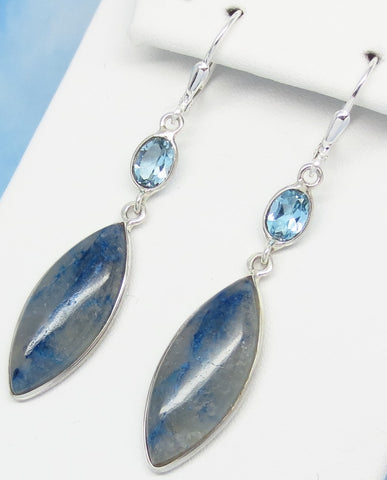 "2-1/4"" Rare Quantum Quattro Earrings - Leverback Dangle - 925 Sterling Silver - Natural Blue Topaz - Marquise - 281569"