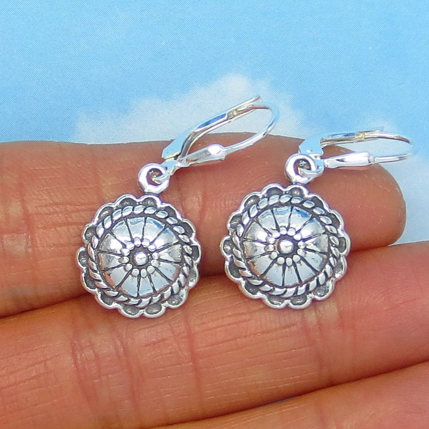 Small Sterling Silver Western Concho Earrings - Leverback Dangle - Cowboy Cowgirl Barrel Racer - Round - Squash Blossom - su180989