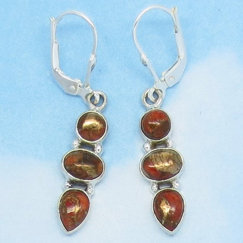 Small Mojave Orange Copper Turquoise Earrings - Leverback - Sterling Silver - Long Dangles - Geuine - Natural - 182053