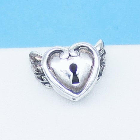 Angel Wings Heart 925 Sterling Silver Threaded European Charm Bead - Fits Pandora Bracelets - Euro Charm - 3-D - Biker - 280607hw