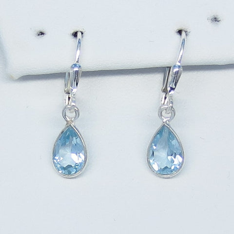 Small 4.0ctw Natural Sky Blue Topaz Earrings Sterling Silver Leverback Dangle 9 x 6mm Pear Teardrop Dainty Genuine Blue Topaz Simple 181051