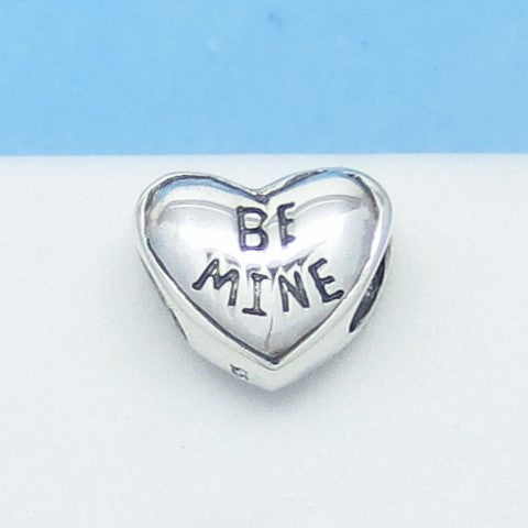 Valentine Candy Heart 925 Sterling Silver Threaded European Charm Bead - Fits Pandora Bracelets - Euro Charm - 281052ch