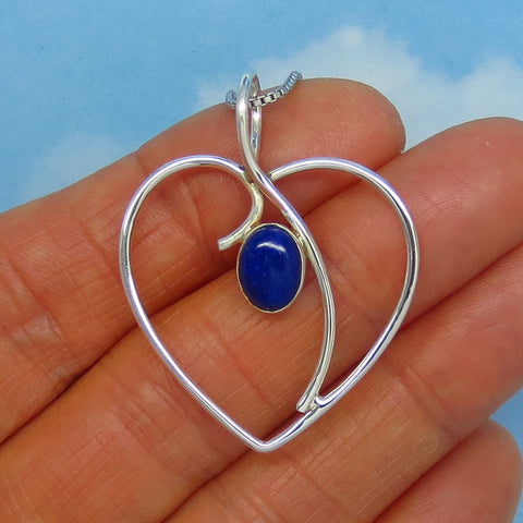 Natural Lapis Lazuli Heart Pendant Necklace - Sterling Silver - Large Heart - Open Heart - Genuine Lapis - p180960