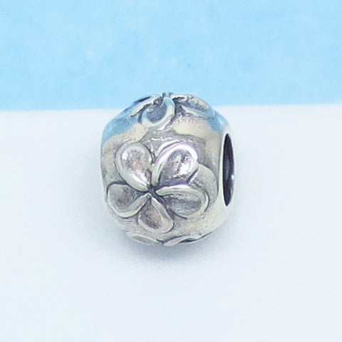 Plumeria Flower Tropical 925 Sterling Silver European Charm Bead - Fits Pandora Bracelets - Euro Charm - Not Threaded - Frangipani 160377