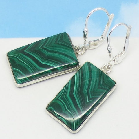 "1-9/16"" Natural Malachite Earrings - Leverback Dangle - 925 Sterling Silver - Rectangle - Geometric - Genuine - 9.6g - 281803av"
