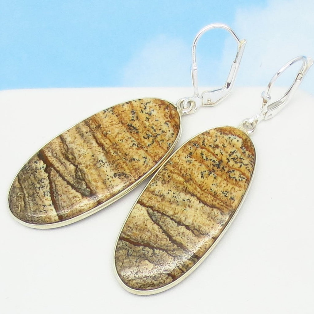 "2-1/16"" Natural Picture Jasper Earrings - Leverback Dangle - 925 Sterling Silver - Large - Long Oval - 281508fov"