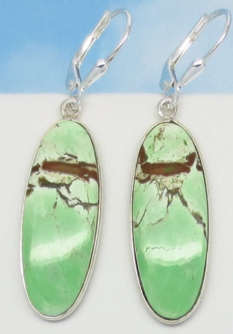 "1-7/8"" Rare Australian Variscite Earrings - 925 Sterling Silver -Leverback Dangle - Natural Genuine - Long Oval - 282406-lo"