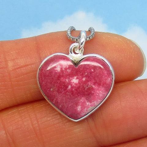 Dainty Raspberry Pink Thulite Heart Pendant Necklace - Sterling Silver - Genuine Natural Norway Rare Pink Zoisite - Raspberry Red - 281002