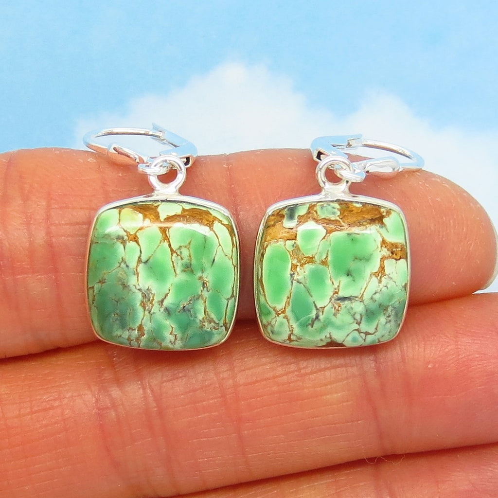 "1-5/16"" Rare Australian Variscite Earrings - 925 Sterling Silver -Leverback Dangle - Natural Genuine - Small Square Cushion - 281903vsc"