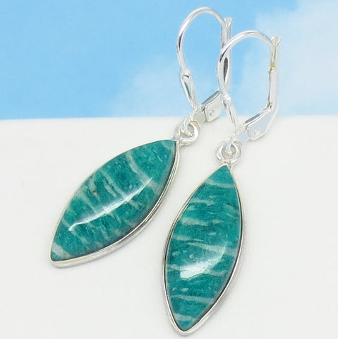 Natural Amazonite Earrings - Leverback Dangle - Marquise - Genuine - 925 Sterling Silver - 281963