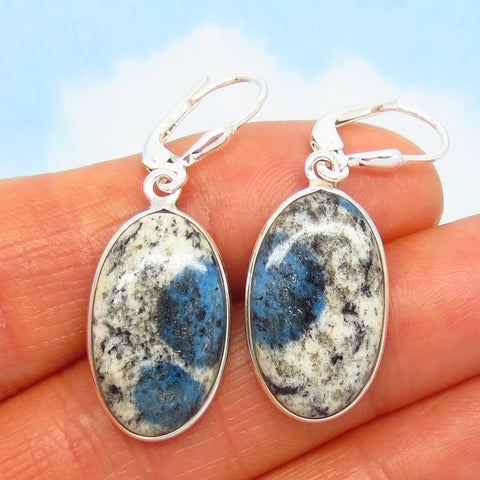 K2 Azurite Granite Earrings - 925 Sterling Silver Leverback Dangle - Oval - Minimalist - Rare - 281407-o