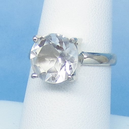 Size 7 - 5.75ct Natural White Topaz Ring - Sterling Silver - 10mm Round Cut - Genuine White Topaz - Simple - Large - Minimalist