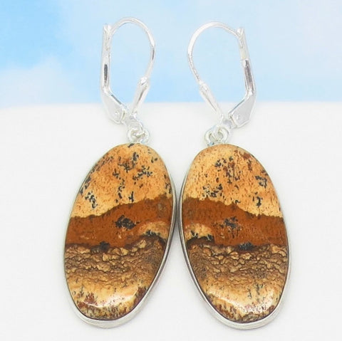 "1-3/4"" Natural Picture Jasper Earrings - Leverback Dangle - 925 Sterling Silver - Large - Long Oval - 281553o"